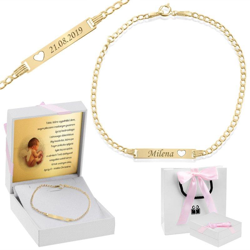 209155954c Bransoletka łańcuszek z blaszką złotą wycięte serce z regulacją złoto 585  Grawer