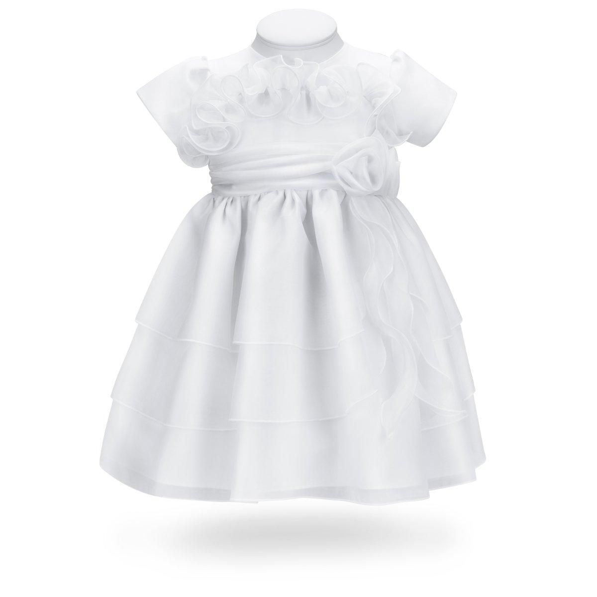 6163d6a790 Sukienka na chrzest do chrztu biała potrójna falbana ...