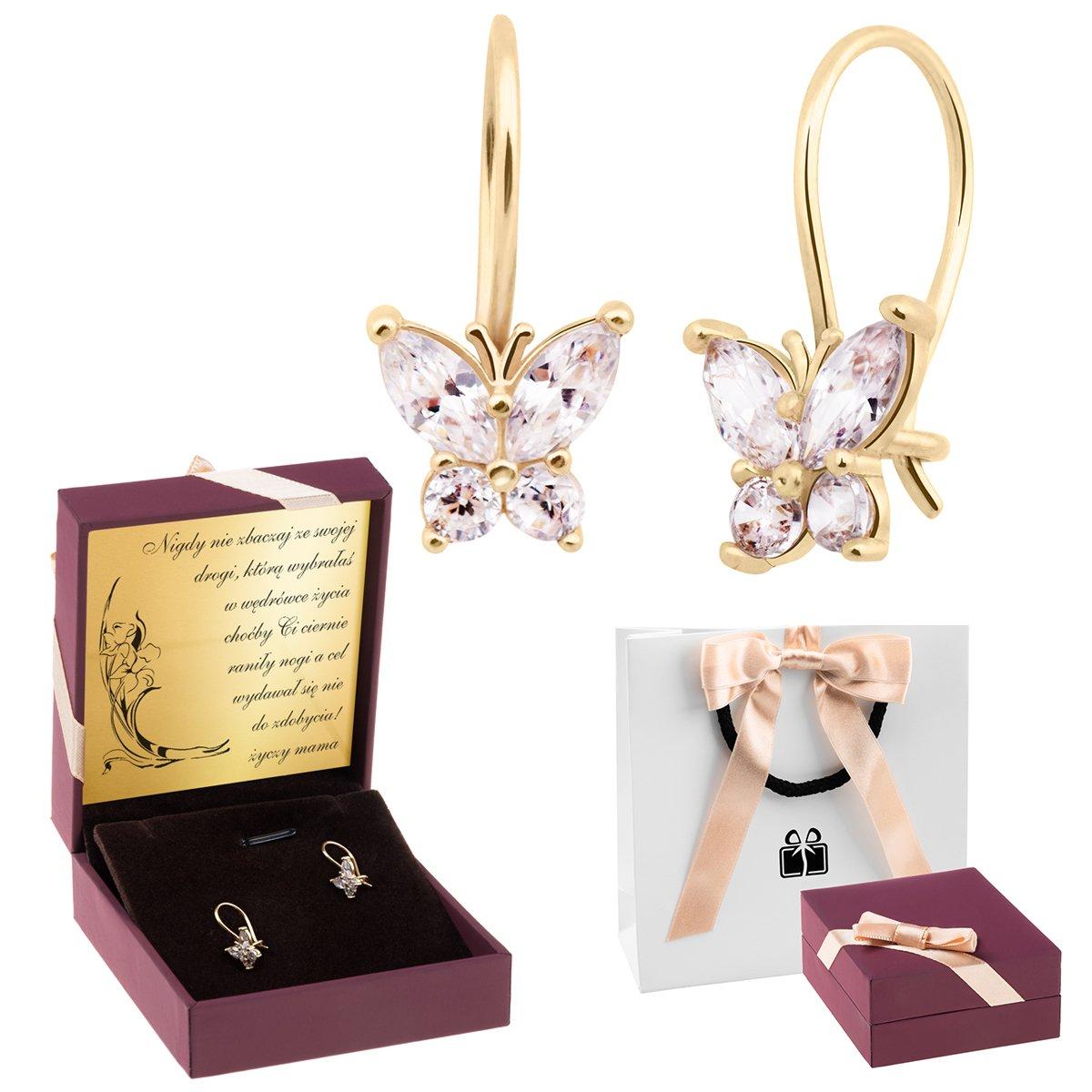 Złote kolczyki pr 333 Motylki z cyrkoniami Prezent z Dedykacją