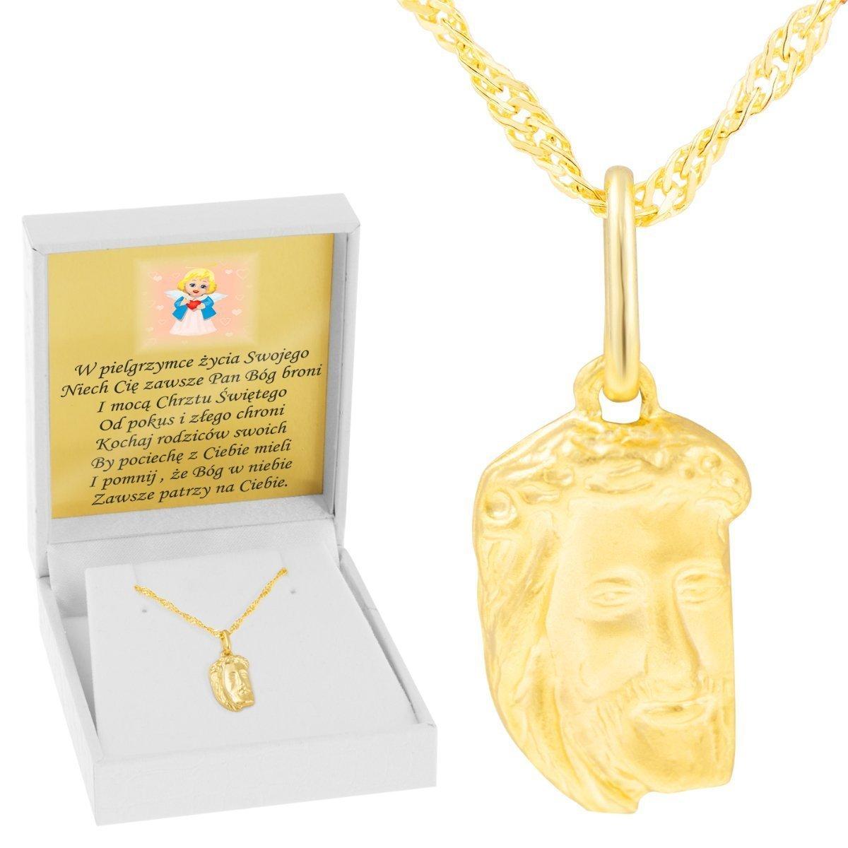 87373c73dd Złoty medalik Jezus Chrzest I Komunia Św. pr. 585 Dedykacja niebieska  kokardka ...