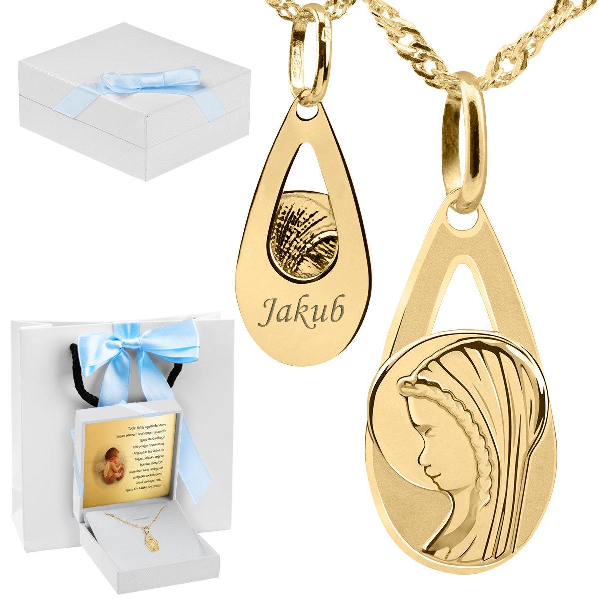 ecb30bce0f Złoty medalik z Matką Boską w kształcie łzy pr. 585 Pamiątka Chrzest  Komunia Bierzmowanie Grawer ...